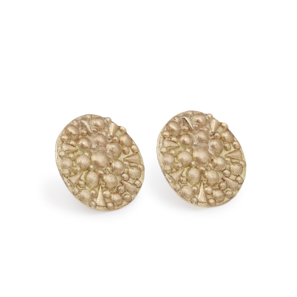 dovile b 9ct gold disc stud earrings