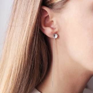 Neila | Sterling Silver Dome Threaded Earrings