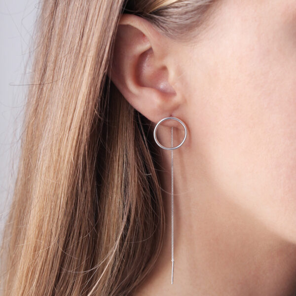 dovile b. threaded silver large circle earrings