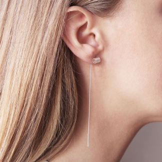 Adira | Gold Plared Tube Bar Threaded Earrings