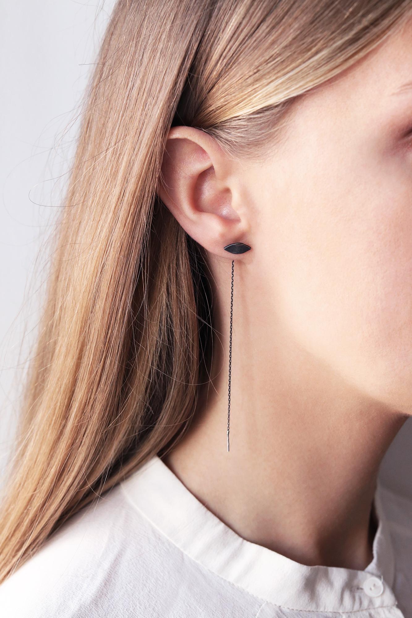 dovile b. threaded black silver rhombus earrings