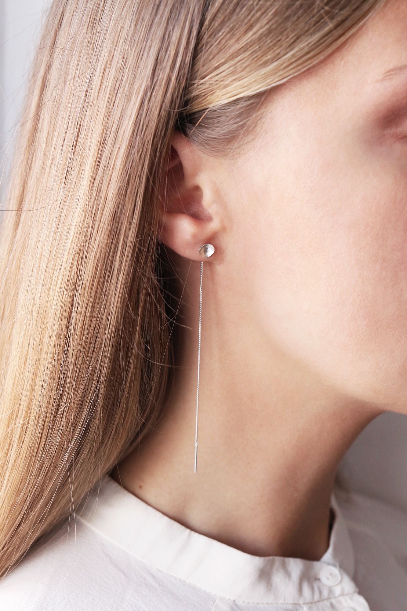 dovile b. threaded silver small dome earrings