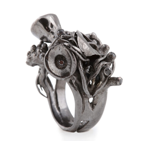 Black diamond coral reef statement ring