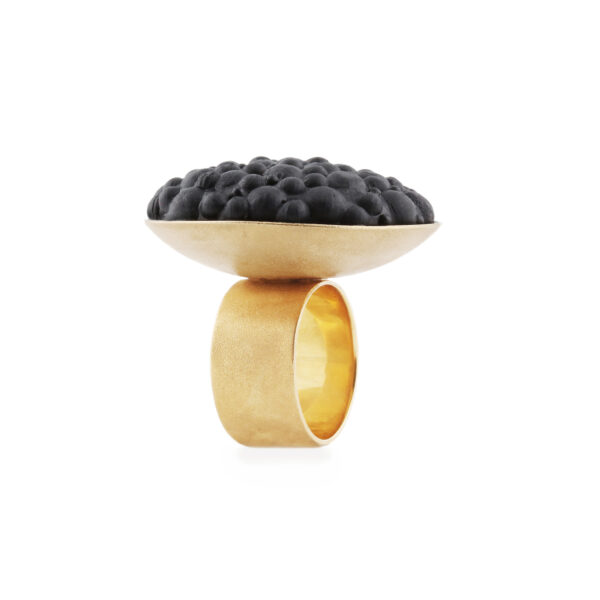 dovile b. / Charcoal Silicone Sphere Silver Ring