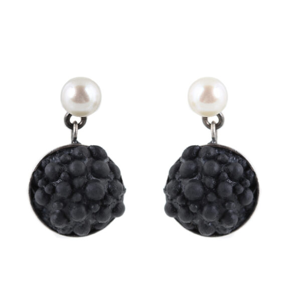 dovile b. / black silicone & pearl earrings
