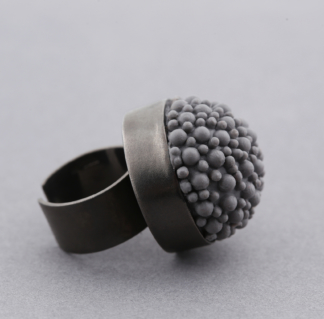Black Rhodium Grey Silicone Statement Ring