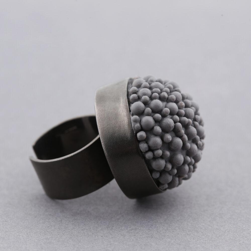 dovile b black rhodium grey statement ring