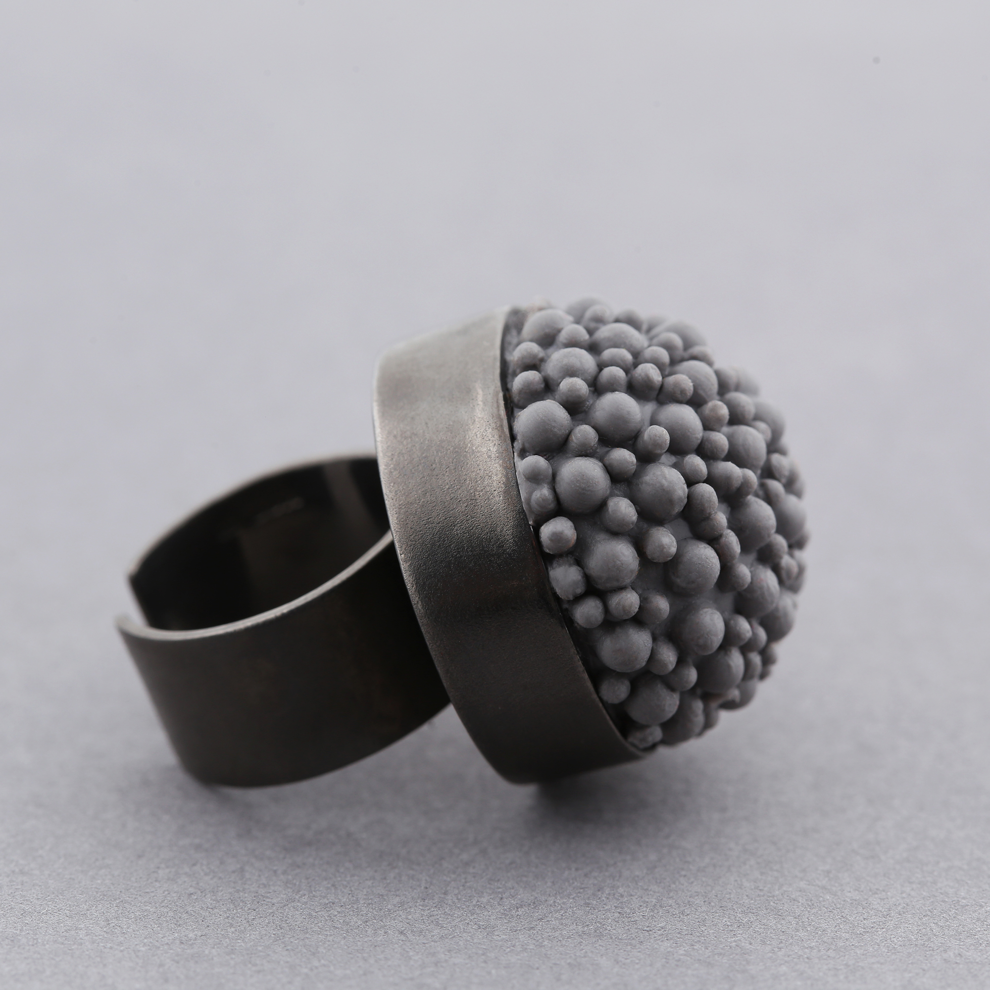 dovile b black rhodium grey statement ring