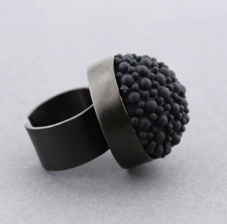 Black Rhodium Silicone Statement Ring