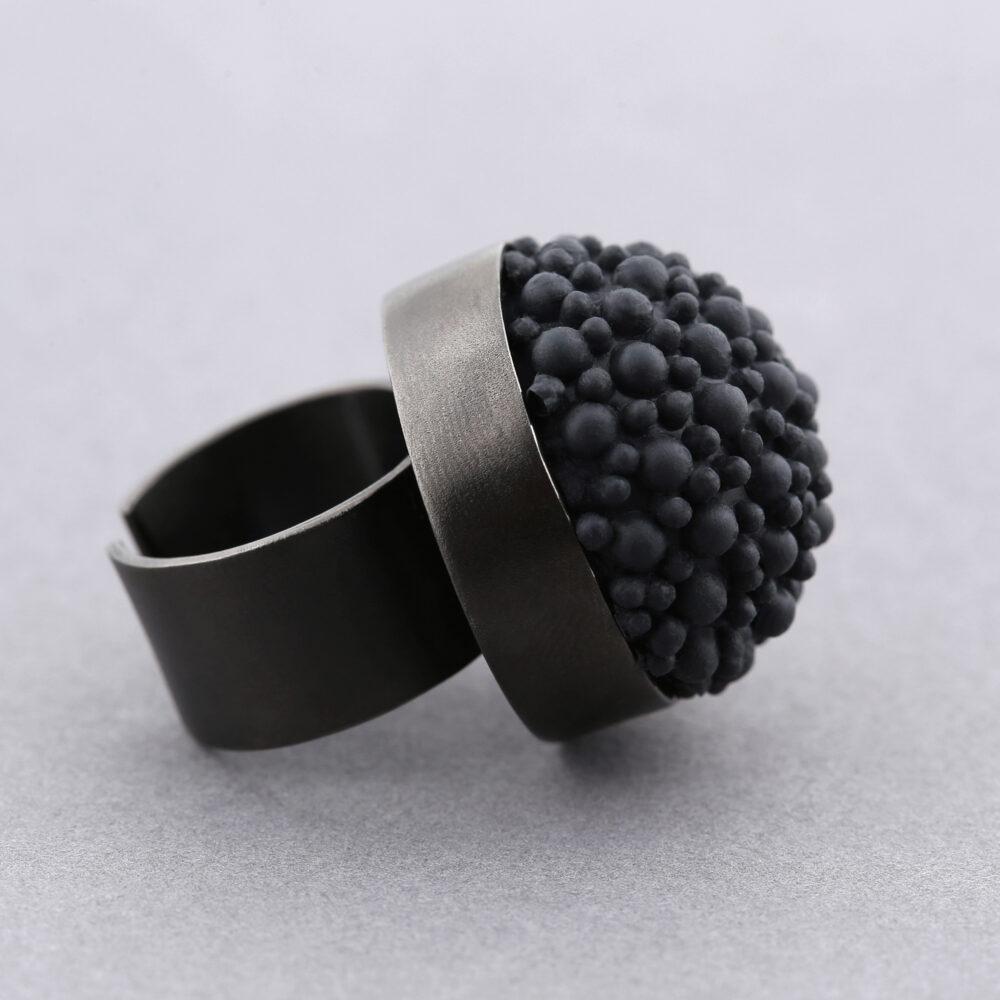 dovile b black rhodium silicone ring