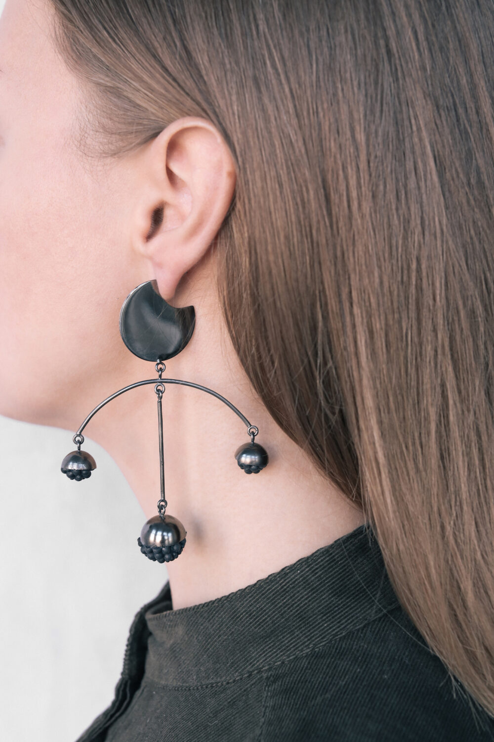 Silicone and Silver Mobile Statement Earrings