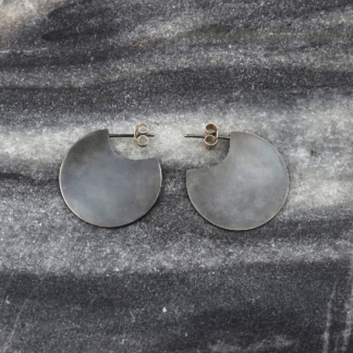 Dark Thoughts | Oxidized Silver Disc Earrings