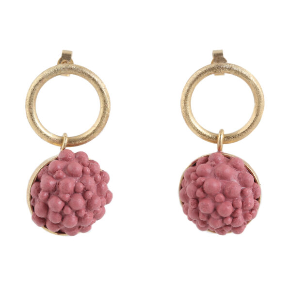 dovile b. / Circular Yellow Gold & Rouge Silicone Sphere Earrings