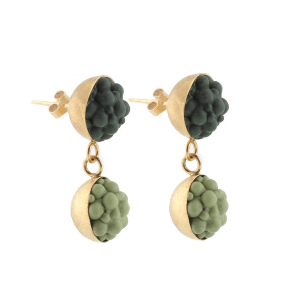 dovile b. / Double Yellow Gold & Gradient Green Silicone Sphere Earrings