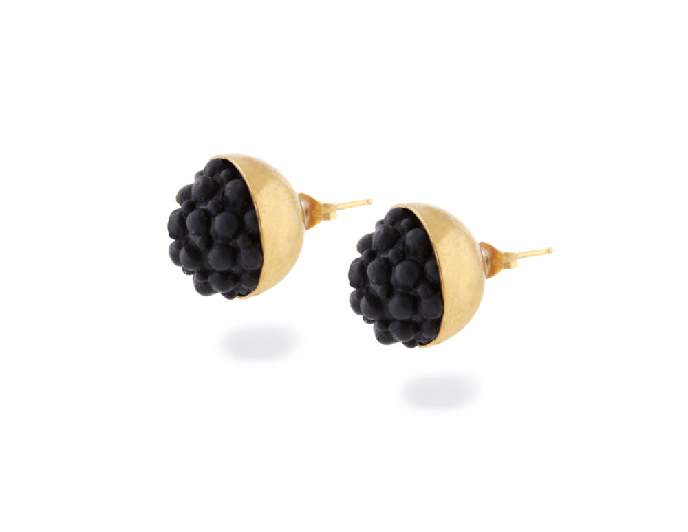Gold and Black Silicone Studs