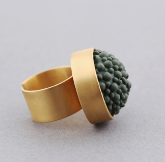 Gold Khaki Silicone Statement Ring