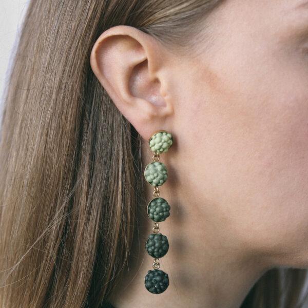 Gradient Green Silicone Dangle Earrings