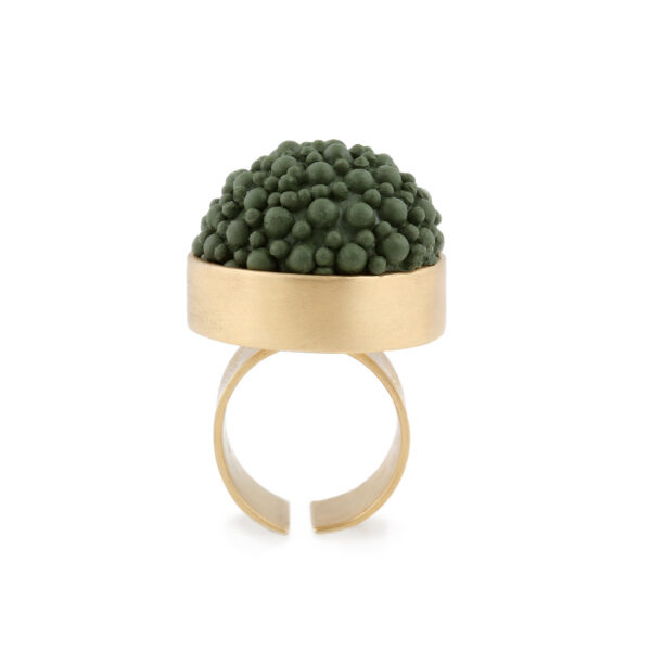 gold and khaki silicone statement ring