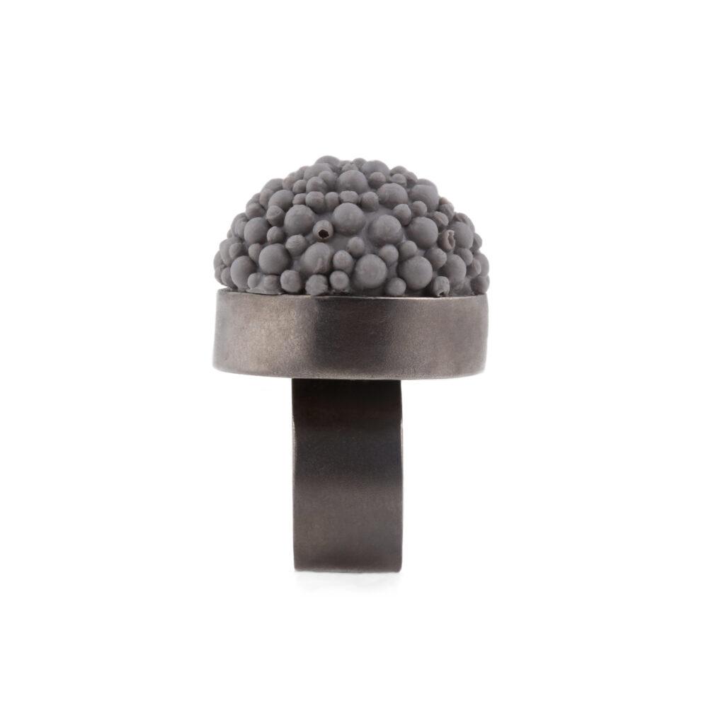 Black & grey silicone statement ring