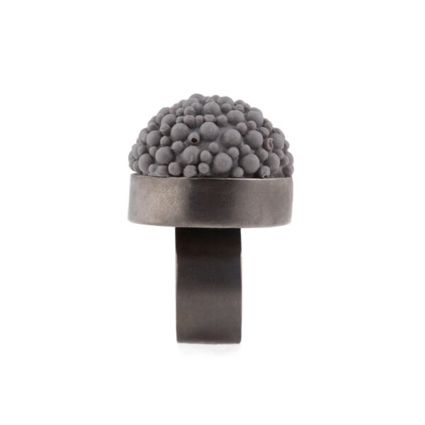 Black & grey silicone statement ring