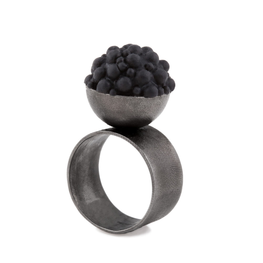 sphere black silicone silver ring