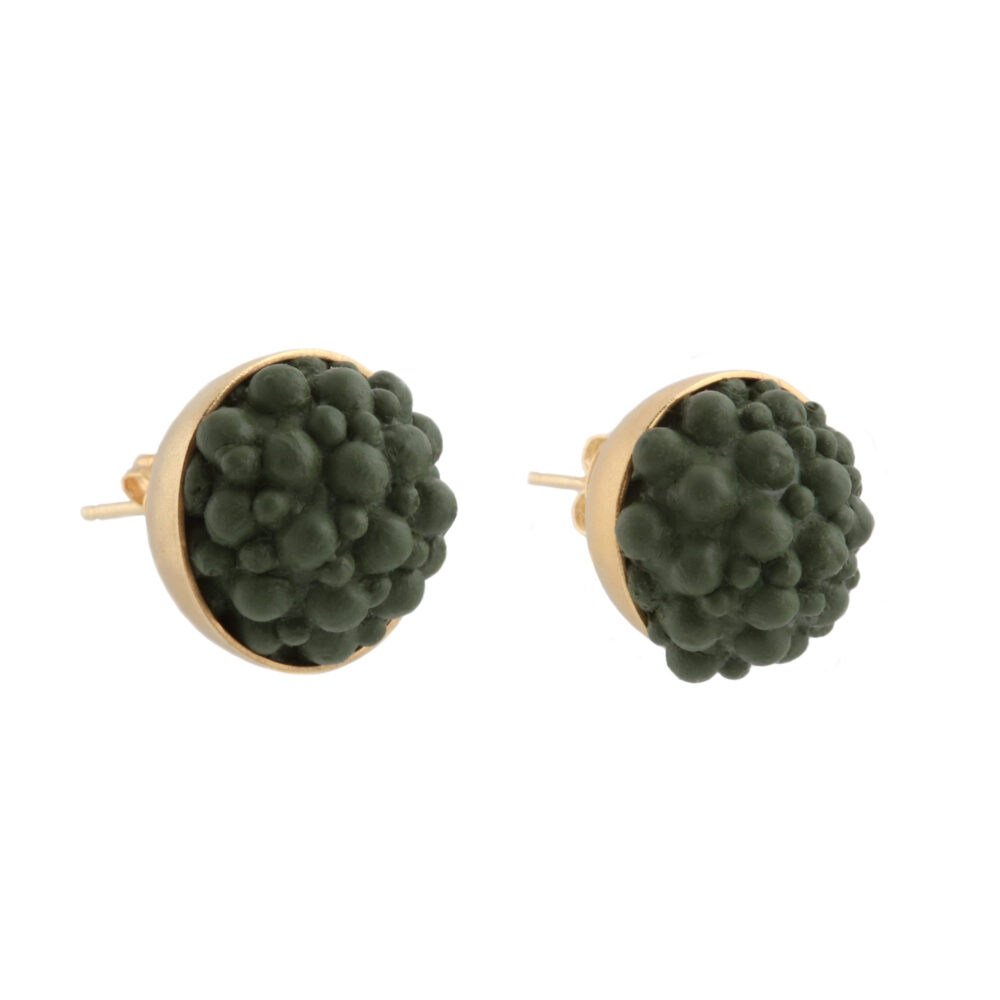 dovile b. / Yellow Gold & Green Silicone Sphere Stud Earrings