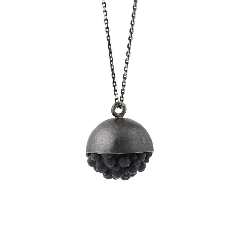 dovile b. / Black Silver Sphere Silicone Pendant