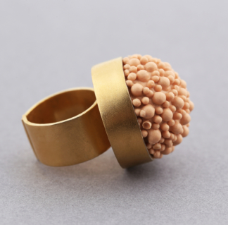 Gold Peach Silicone Statement Ring