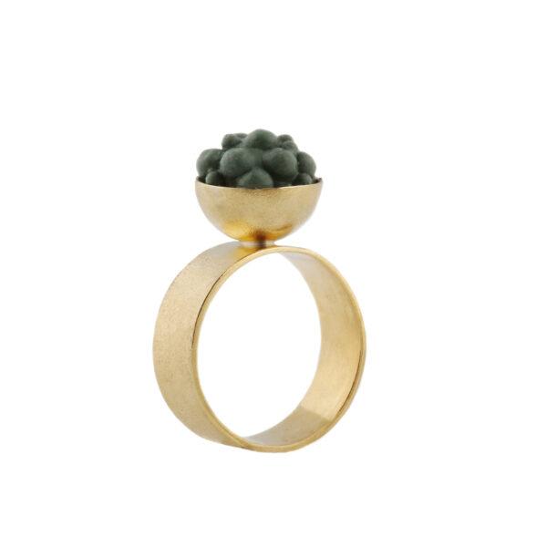 dovile b. / Petite Sphere Khaki Silicone Silver Ring