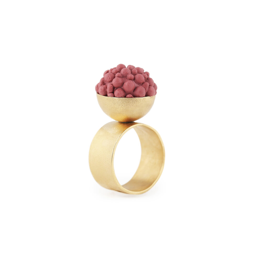 dovile b. / Petite Sphere Rouge Silicone Silver Ring