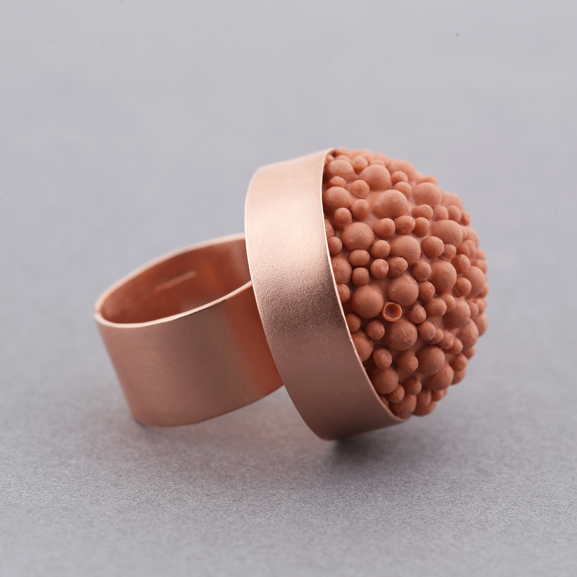 dovile b rose gold coral ring