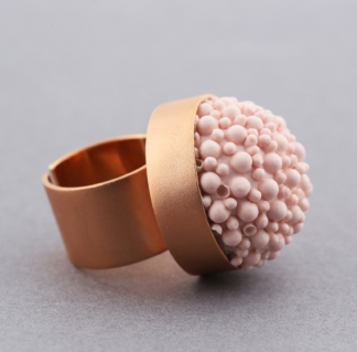 Rose Gold Pastel Pink Silicone Statement Ring
