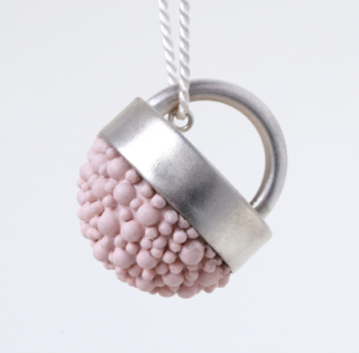 Silver and Pink Silicone Pendant