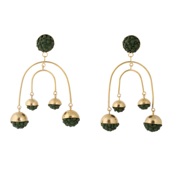Khaki Silicone Chandelier Statement Earrings
