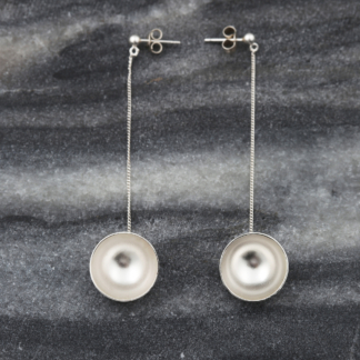 Dome of the Chain | silver dangling earrings