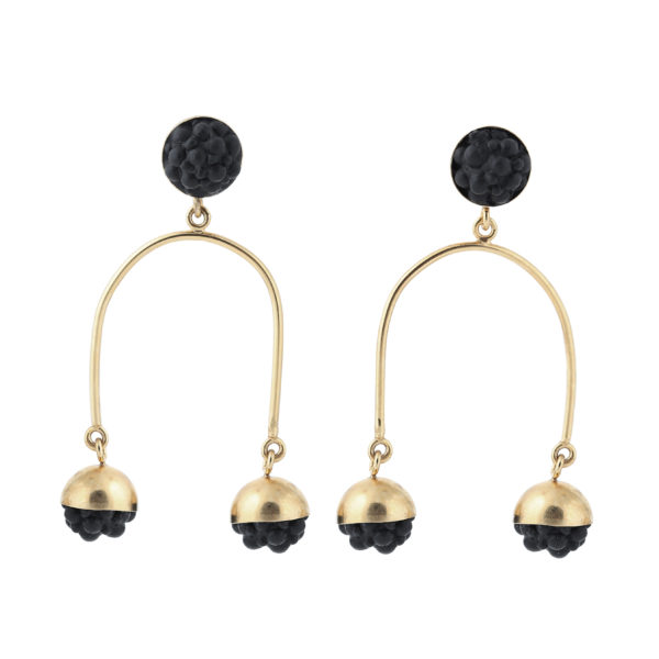 dovile b. / Petite Black Silicone Chandelier Statement Earrings