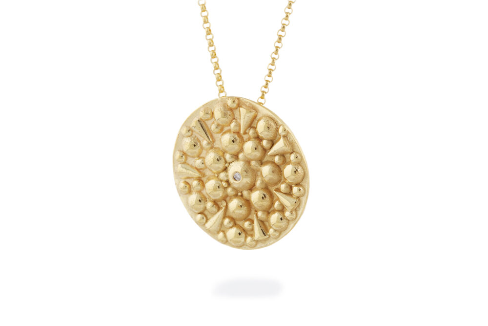 Soleil Gold Gold Disc Pendant with Diamond