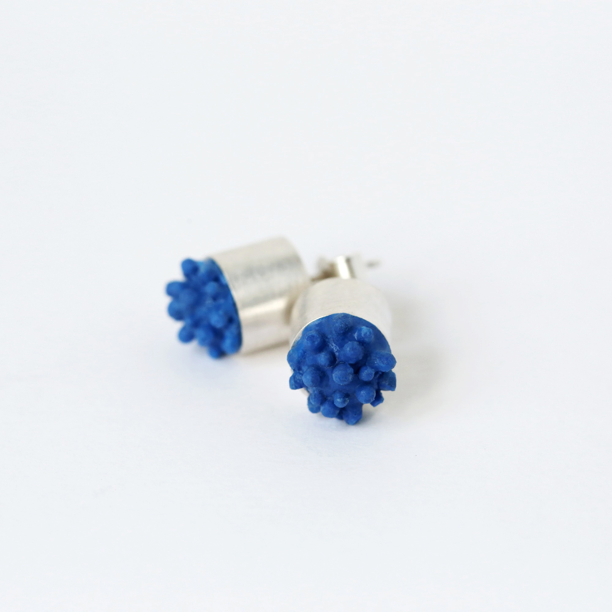 dovile b. nautilus hard soft silicone silver blue studs