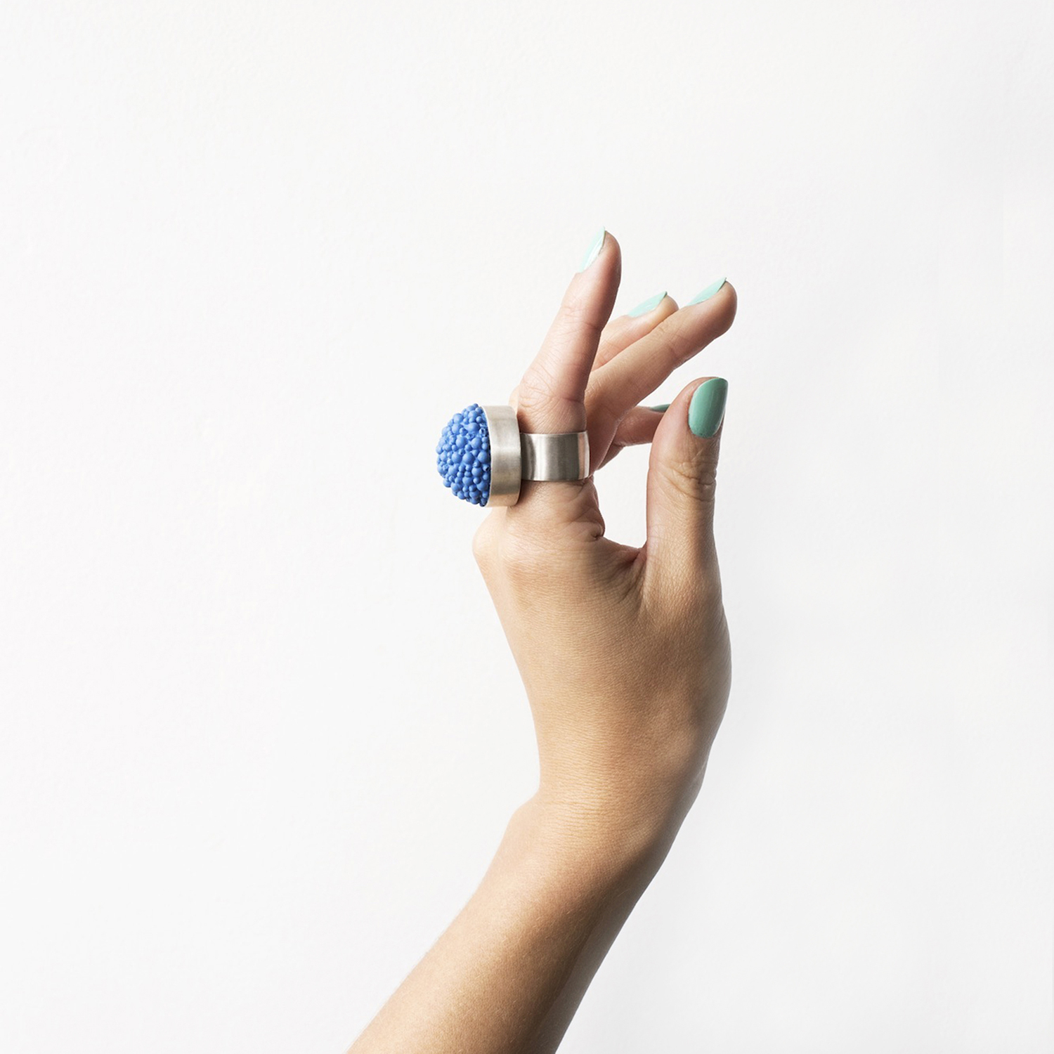 dovile b. nautilus latitude statement silicone blue ring