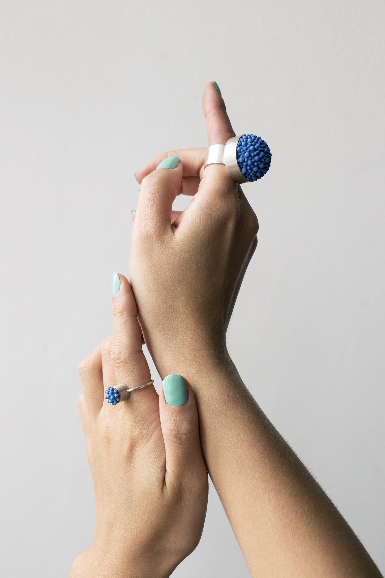 dovile b. nautilus latitude statement silicone blue ring
