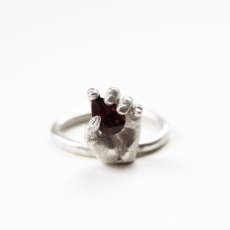 Always in My Heart | Miniature Hand and Red Garnet Silver Ring