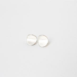 Ada | Folded Elipse Silver Studs