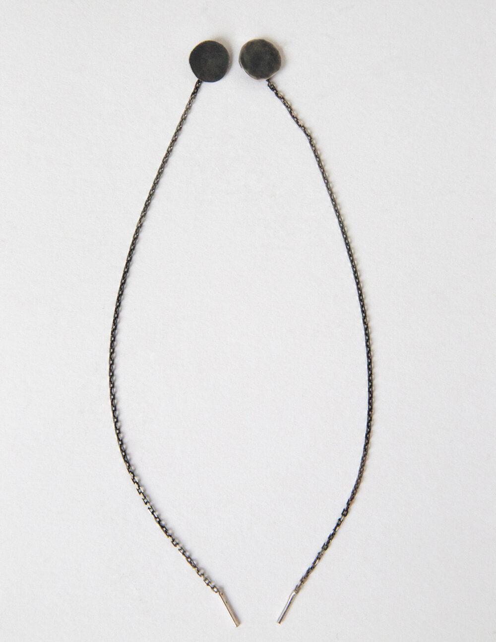 dovile b. threaded blackened silver disk earrings